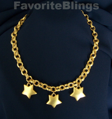 65c33c9fa Flirty sexy gold star dangle statement necklace well made OOAK 80s star  trio girlie statement necklace 3 stars rich goldtone
